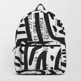 Italian Train Ticket Street Art Graffiti Black and White Backpack