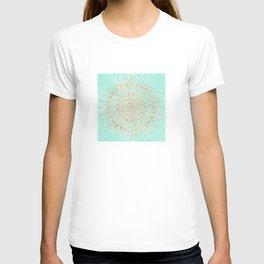 Mint and gold mandala T-shirt