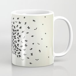 dried tree with branches and flying butterflies Coffee Mug