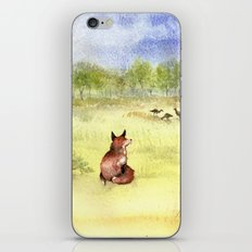 Red Fox Watching Wild Turkeys - Watercolor iPhone & iPod Skin