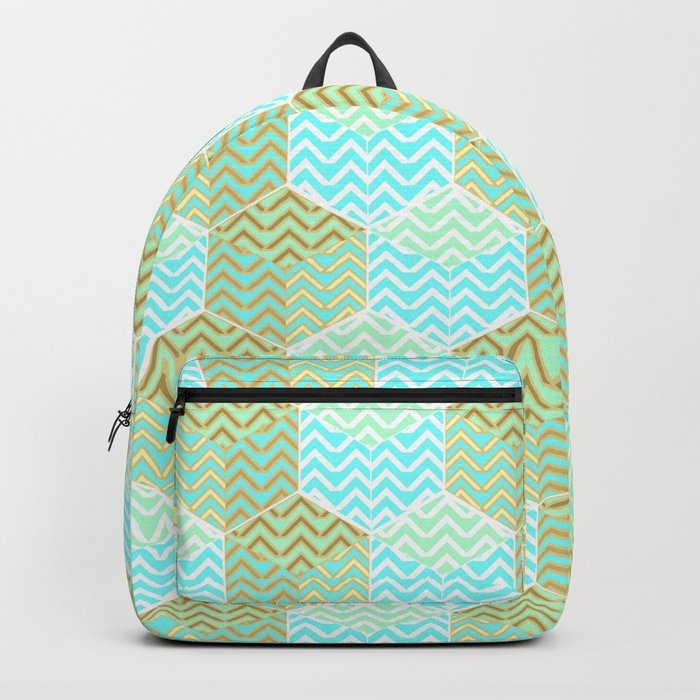 Cubes in teal and golden chevron Backpack