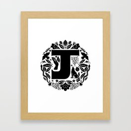 Letter J monogram wildwood Framed Art Print