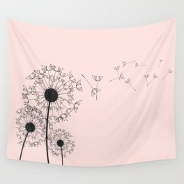 Contemporary Pink Dandelion Drawing Wall Tapestry