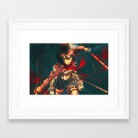 mikasa Framed Art Prints featuring Worth a Hundred Soldiers by Alice X. Zhang