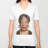 celebrity V-neck T-shirts featuring Celebrity Sunday ~ Maya Angelou by rob art | illustration