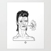 David Bowie - Ziggy Stardust Illustration Art Print