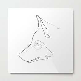 one line Totem: wolf Metal Print