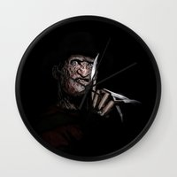 freddy krueger Wall Clocks featuring FREDDY KRUEGER! by John Medbury (LAZY J Studios)