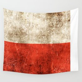 Vintage Aged and Scratched Polish Flag Wall Tapestry