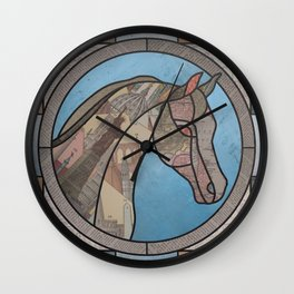 Stained Glass Map Horse Wall Clock