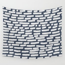 Light Grey Strokes on Blue Grey Wall Tapestry