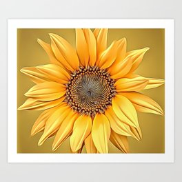 Macro Sunflower Airbrush Artwork Art Print