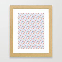 Blue Pink Flower Pattern Framed Art Print