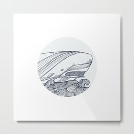 Moby Dick Whale Drawing Metal Print
