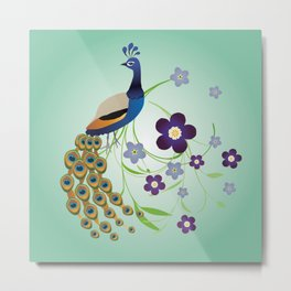 Peacock with flowers Metal Print