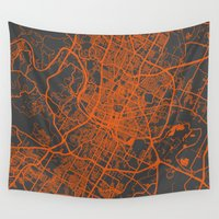 austin Wall Tapestries featuring Austin map by Map Map Maps