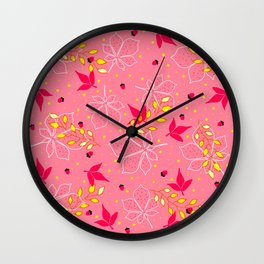 Chestnut Acorns Gold and Pink Leaves Wall Clock