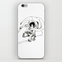 levi iPhone & iPod Skins featuring Levi Ackerman: Humanities Strongest by Reira Hoshikuzu