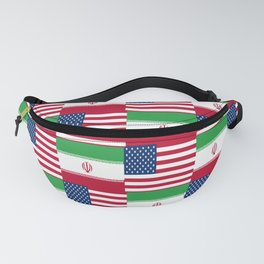 Mix of flag : Usa and Iran. Fanny Pack