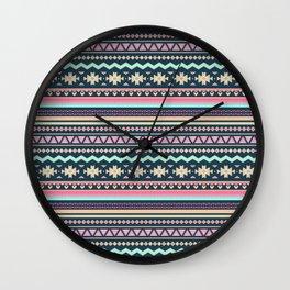 Colorful Aztec Tribal Pattern Wall Clock