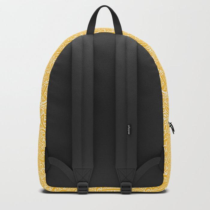 The Most Detailed Intricate Mandala (Mustard Yellow) Maze Zentangle Hand Drawn Popular Trending Backpack
