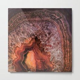 Copper Brown Agate Mineral Gemstone Geode Metal Print