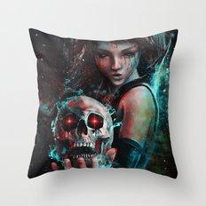 Skull Mage Dark Fantasy Original Character Painting Throw Pillow