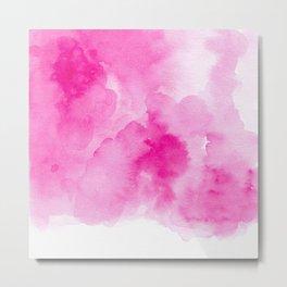 Hand painted magenta pink modern watercolor Metal Print