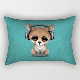 Cute Red Fox Cub Dj Wearing Headphones on Blue Rectangular Pillow