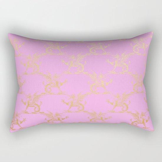 Princess like I - Gold glitter effect lion pattern on pink background #Society6 Rectangular Pillow