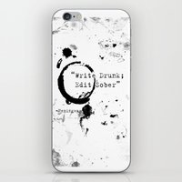 hemingway iPhone & iPod Skins featuring Hemingway Writing Quote by Novel Reveries