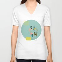 moonrise V-neck T-shirts featuring Moonrise by la belette rose