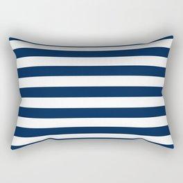 Slate Blue and White Stripes  - Navy Nautical Pattern Rectangular Pillow