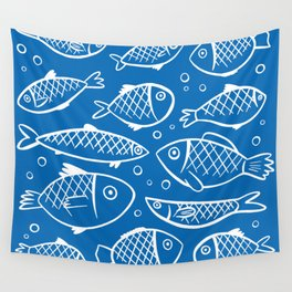 Fish blue white Wall Tapestry