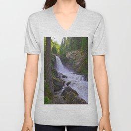 Summer Snow Melt - Waterfall & Forest Unisex V-Neck