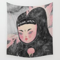 loll3 Wall Tapestries featuring CuteZilla by lOll3