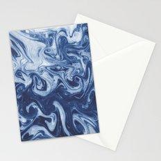 Yutaka - spilled ink marbled paper marbling swirl india ink minimal modern blue indigo pattern Stationery Cards