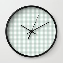 Gingham in Sage Wall Clock