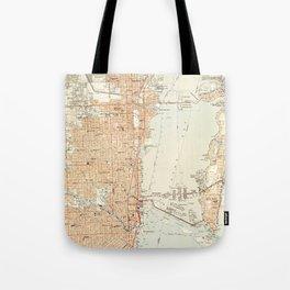 Vintage Map of Miami Florida (1950) Tote Bag