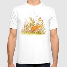 Fox and Flowers White Mens Fitted Tee MEDIUM