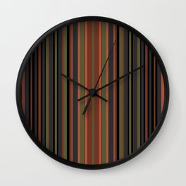 Multi-colored striped pattern in green , black and brown tones . Wall Clock