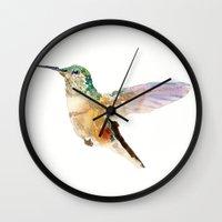 hummingbird Wall Clocks featuring Hummingbird by coconuttowers