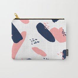 Modern abstract navy blue pastel pink geometric paint strokes with hand painted dots Carry-All Pouch