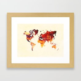 world map 89 art red Framed Art Print