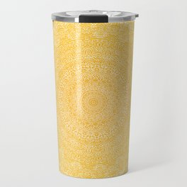 The Most Detailed Intricate Mandala (Mustard Yellow) Maze Zentangle Hand Drawn Popular Trending Travel Mug