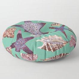 SEASHELLS & STARFISH (TURQUOISE) Floor Pillow
