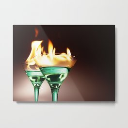 Flaming Absinthe Aperitifs - Alcoholic Cocktails color photograph / photography by Nik Frey Metal Print