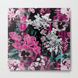 Flowers glitch Metal Print