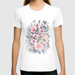 "Loose watercolor floral bouquet, ""Clara"" T-shirt"