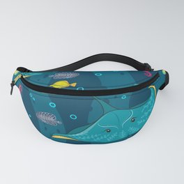 Decorative seamless pattern with sea fish on blue background. Fanny Pack